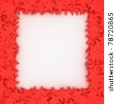 Empty frame with red stars, design element - stock photo