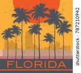 florida coast beach poster.... | Shutterstock .eps vector #787210942