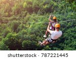 zipline is an exciting... | Shutterstock . vector #787221445