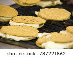 yellow tortillas on grill with... | Shutterstock . vector #787221862