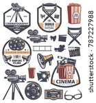 set of cinema labels. elements... | Shutterstock .eps vector #787227988