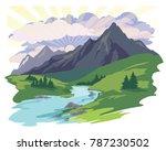 landscape sun clouds sky grass... | Shutterstock .eps vector #787230502