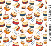 seamless background with drums... | Shutterstock .eps vector #787236418