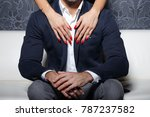 sexy woman hands with red nails ... | Shutterstock . vector #787237582