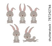 easter bunnies set in colorful... | Shutterstock .eps vector #787242766