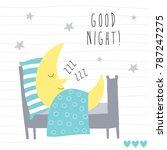 cute sleeping moon vector... | Shutterstock .eps vector #787247275