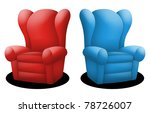 Couches In Red And Blue Facing...
