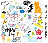 cute hand drawn doodle set with ... | Shutterstock .eps vector #787262086