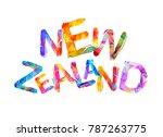 new zealand. inscription of... | Shutterstock .eps vector #787263775