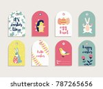 a set of 8 cute gift tags for... | Shutterstock .eps vector #787265656