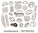 hand drawn breads and bakery... | Shutterstock .eps vector #787294762