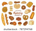set of various sorts of bread... | Shutterstock .eps vector #787294768