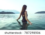 young beautiful woman standing... | Shutterstock . vector #787298506