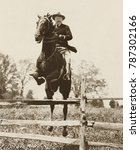Small photo of President Theodore Roosevelt jumping on his charger, Bleistein, Chevy Chase Club, 1902. The horse was a gift from his friend George Bleistein, a Buffalo, New York, Democrat and newspaper publisher. Ph