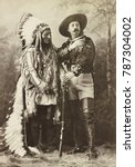 Small photo of Chief Sitting Bull and Buffalo Bill 1885 when the former Hostile Sioux Chief joined the show. Sitting Bull negotiated a favorable contract for performing with BUFFALO BILLS WILD WEST: $50 a week; all