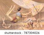 five male trapeze artists... | Shutterstock . vector #787304026