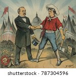 Small photo of A UNIT. Cover illustration of PUCK Magazine, June 25, 1884. Democratic Presidential Candidate Grover Cleveland shaking hands with a figure labeled Independent Voter. In the lower left corner is a With