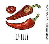 chilli whole  half and slice....   Shutterstock .eps vector #787324642