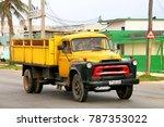 Small photo of Havana, Cuba - June 6, 2017: Old truck International S-160 in the city street.