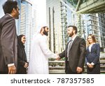 multiethnic group of... | Shutterstock . vector #787357585
