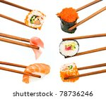 japanese sushi with rice  raw... | Shutterstock . vector #78736246