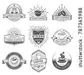 set of nine coffee logo... | Shutterstock .eps vector #787365988