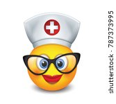 cute nurse emoticon wearing hat ... | Shutterstock .eps vector #787373995