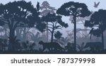 vector evening tropical... | Shutterstock .eps vector #787379998
