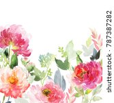greeting card with peonies on... | Shutterstock . vector #787387282
