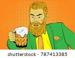 bearded man in green suit with... | Shutterstock .eps vector #787413385