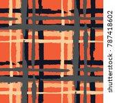 plaid. seamless grunge texture... | Shutterstock .eps vector #787418602