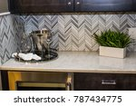 Stock photo modern kitchen counter with backsplash 787434775