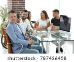 boss and business team on... | Shutterstock . vector #787436458