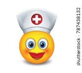 cute nurse emoticon wearing hat ...   Shutterstock .eps vector #787438132