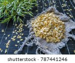 oat flakes together with the... | Shutterstock . vector #787441246