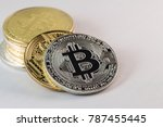 bitcoins and new virtual money... | Shutterstock . vector #787455445
