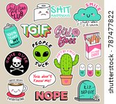 set of girl fashion patches ... | Shutterstock .eps vector #787477822