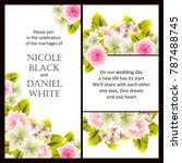 invitation with floral... | Shutterstock .eps vector #787488745