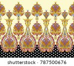paisley horizontal border with ... | Shutterstock . vector #787500676