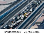Overhead View Of Heavy Traffic...