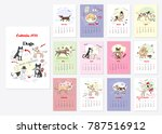 calendar 2018 dogs sketches.... | Shutterstock .eps vector #787516912