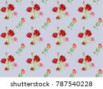 flowering red watercolor roses. ... | Shutterstock . vector #787540228