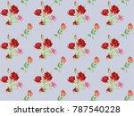 flowering red watercolor roses. ... | Shutterstock . vector #787540228