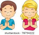 Praying kid with praying cap vector clip art | Public domain vectors