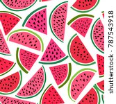 watermelon seamless pattern.... | Shutterstock .eps vector #787543918