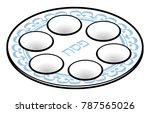 a passover seder plate. | Shutterstock .eps vector #787565026