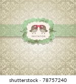 cute wedding invitation card... | Shutterstock .eps vector #78757240