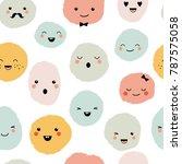 cute cartoon monsters seamless...   Shutterstock .eps vector #787575058