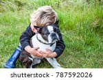 child lovingly and carefully... | Shutterstock . vector #787592026