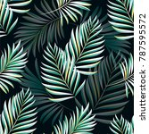 pattern of tropical palm ... | Shutterstock .eps vector #787595572
